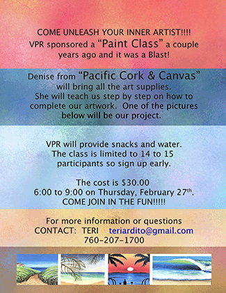 "Learn to Paint - Denise from ""Pacific Cork & Canvas"" will bring all the art supples. She will teach us step by step on how to complete our artwork."